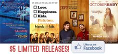 Go see limited release films this Wednesday, April 11th, 2012 at Celebration Cinema for 5 dollars each!