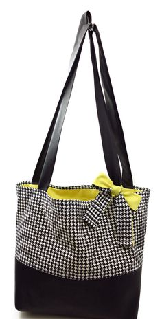 Handmade Black White Houndstooth Tote Bag Diaper by AuraleeCompany