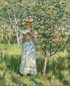 """""""Sunlight and Shadows,"""" Theodore Robinson, oil on canvas, 22 x private collection. Theodore Robinson, Brooklyn Museum Of Art, American Impressionism, Impressionist Artists, Photo Reference, Claude Monet, Art Auction, American Artists, Landscape Art"""