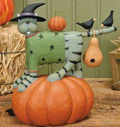Cat Standing On Pumpkin Figurine - Harvest Folk Art Figurines & Thanksgiving Collectibles – Williraye Studio $30.00