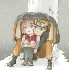 Naruto 🍥: Naruto & Sakura huddle together to take shelter against the elements Naruto And Sasuke, Anime Naruto, Naruto E Sakura, Naruto Team 7, Naruto Y Boruto, Naruto Fan Art, Itachi Uchiha, Manga Anime, Gaara