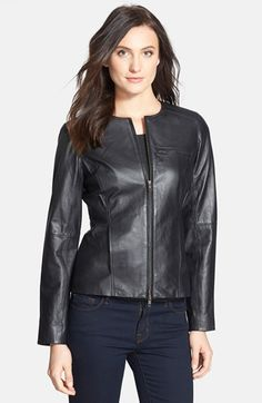 Eileen Fisher Collarless Shaped Lambskin Leather Jacket available at #Nordstrom