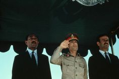This photograph of Libyan political leader Muammar Qadaffi was taken during a time of heightened tension between Libya and the United States / 1986