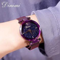 Dimini Magnetic Women Watches Starry Dial Lady Watch Mesh Belt Women Dress Watch Luxury Quartz Wrist Watches Gifts