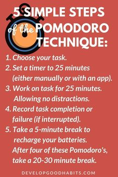 Create an Effective Time Management Habit with the Pomodoro Technique Want to improve your productivity and time-managment? This inforgraphic shows some basic steps to increase your daily productivity using Pomodoro technique in your daily work. Time Management Tools, Effective Time Management, Time Management Strategies, Time Management Techniques, Project Management, Pomodoro Technique Timer, Business Entrepreneur, Business Tips, Business Planning