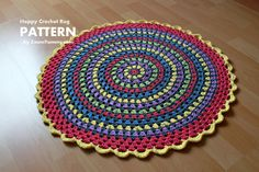 Crochet Pattern Happy Crochet Rug Pattern No. 030 by ZoomYummy for in front of my bed
