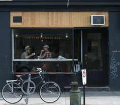 A Perfect Day in Toronto Remodelista.this image of Sam James Coffee Bar is fantastically composed. Cafe Restaurant, Restaurant Design, Restaurant Interiors, Shop Facade, Café Bar, Coffee Shop Design, Coffee Culture, Cafe Shop, Small Cafe