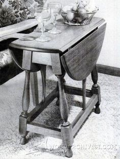 Colonial Drop Leaf Table Plans - Furniture Plans and Projects - Woodwork, Woodworking, Woodworking Plans, Woodworking Projects Furniture Projects, Furniture Plans, Table Furniture, Table Desk, Dining Table, End Table Plans, Drop Leaf Table, End Tables, Woodworking Projects