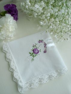 Handkerchif with Crochet Lace Purple Embroidery by olgalacycrochet, $7.00