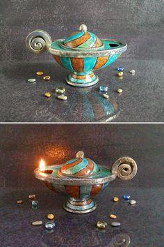 Guarda questo articolo nel mio negozio Etsy https://www.etsy.com/it/listing/452968122/lampada-a-olio-in-ceramica-raku-lampada