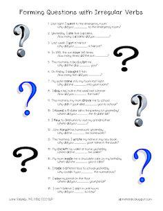 Ms. Lane's SLP Materials: Grammar: Questions with Irregular Verbs