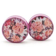 0g (8mm) Subdued Mauve Vintage Floral Plugs Single Flare Pair $17.00