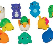 I needed age appropriate egg hunt items for Fox's infant class so I decided springtime bath squirts would work well. :)