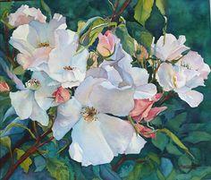 """Portland Rose Garden by Yvonne Hemingway Watercolor ~ 12 """" x 15"""""""
