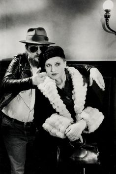 Rainer Werner Fassbinder (1945-1982, German filmdirector) and his muse Hanna Schygulla (1943 - German actress and chanson singer) photographed by Alfred Eisenstaedt, Berlin ca 1980 from westlicht