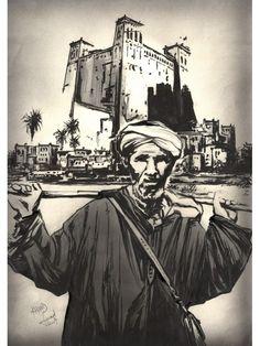Vente tableau de peinture: BERGER II- technique: Encre de chine & Aerographesur papier , de taille:42x32cm, de style: Esquisse, de prix 1150dhparFouad Khyad: artiste peintre marocain.