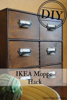 Dutch Design on a Budget: DIY: Van IKEA Moppe Naar Vintage Card Catalog! *Reverse drawers so u have a completely flat front drawers*