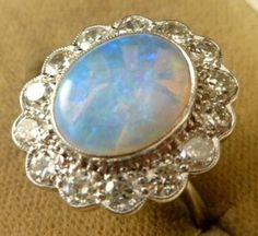 White Opal Rings | STUNNING OPAL RING 18ct WHITE GOLD 1.30ct DIAMOND & 4ct NATURAL OPAL