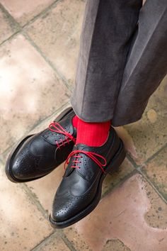 Spice up a pair of vintage dress shoes with bright colored laces!