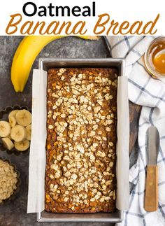 Fluffy, moist Oatmeal Banana Bread made with healthy ingredients like oats, ripe bananas, spices, and maple syrup. Easy to make and absolutely delicious! #wellplated #greekyogurt #maplesyrup Banana Bread Easy Moist, Oatmeal Banana Bread, Zucchini Banana Bread, Healthy Banana Bread, Banana Bread Recipes, The Oatmeal, Crinkle Cookies, Healthy Pork Tenderloin Recipes, Olive Oil Dip For Bread