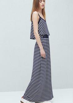 Lange gestreepte jurk - Jurken voor Dames | MANGO Nederland