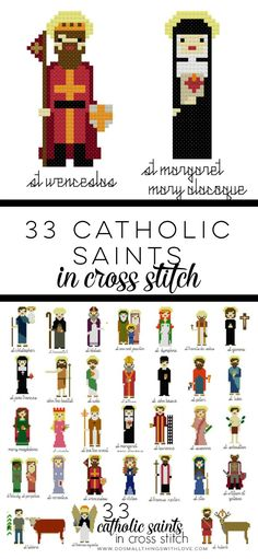 113 Catholic Saints in Cross Stitch II Complete Set of Cross Stitch Patterns Catholic Crafts, Catholic Kids, Catholic Saints, Cross Stitch Kits, Counted Cross Stitch Patterns, Religious Cross, Hand Embroidery Patterns, Embroidery Designs, Cross Stitching