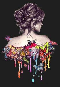she is a woman - Art Drawings Girly Drawings, Art Drawings Sketches, Butterfly Painting, Butterfly Art, Butterflies, Glue Art, Digital Art Girl, Art Pictures, Female Art