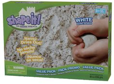 Shape It Sand (formerly Moon Sand) acts and feels like wet beach sand but it never dries out. It is gluten-free, dust-free and allergen-free. Can be sanitized, simply pick out foreign debris, spread it out, mist with sanitzer, and allow to air dry.   Therapist Note: Great for building fine motor skills, creative exploration, and sensory play.  www.playapy.com