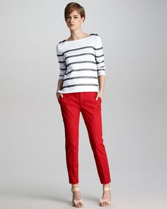 Red pants ... RED Valentino Lace-Stripe Knit Top & Stretch-Gabardine Ankle Pants - Neiman Marcus