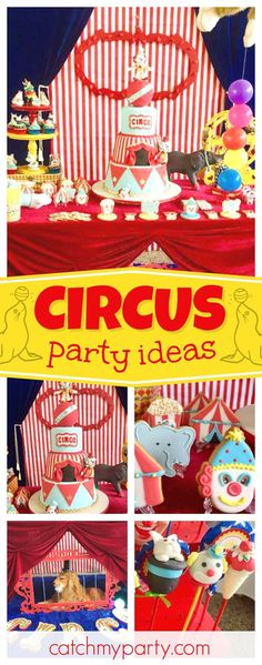 Check out this awesome Circus birthday party! The dessert table is amazing! Love the decorations. See more party ideas and share yours at CatchMyParty.com  #partyideas #catchmyparty #circus #vintage #carnival