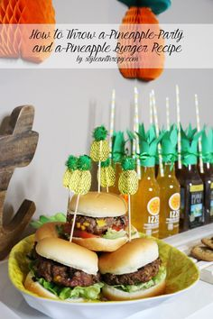 How to Throw a Pineapple Party by STYLEanthropy + Pineapple Burger Recipe with everything you'll need from AD Burger Recipes, Grilling Recipes, Pepperidge Farm Cookies, Pineapple Ideas, Main Dishes, Side Dishes, Backyard Barbeque, Angus Beef, Allrecipes