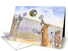 The Corgi Games, volleyball, corgi, dog, card (927476) by Susan Alison