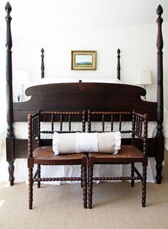 Dark antique furniture + white walls and bedding