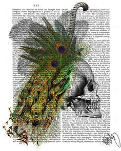 Skull with Feather Headress skull Illustration by DottyDictionary, $15.00