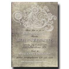 Rustic Bridal Shower Invitation - Vintage Glam bridal Shower, Grey Bridal shower, Printable invitation