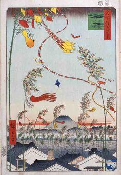 [F]歌川広重「名所江戸百景 市中繁栄七夕祭」風の動きを吹き流しによって上手く表現していると思いました。
