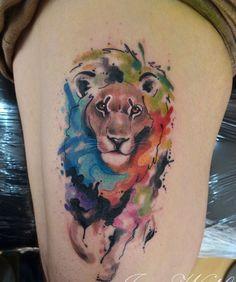 watercolor thigh tattoo - Recherche Google