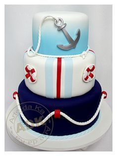 Nautical Cake I love auctions: Cake Icing, Fondant Cakes, Cupcake Cakes, Ocean Cakes, Beach Cakes, Cake Pops, Nautical Cake, Nautical Theme, Funny Cake