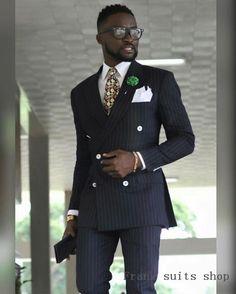 fff06119eee2af 2019 Men Prom Wedding Double Breasted Black Stripe Suit Groomsmen Groom  Formal Terno Masculino Costume Tuxedos (Jacket+Pants). Black Mens Fashion  ...