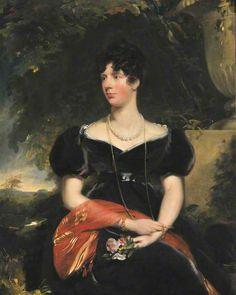 Thomas Lawrence.1805. Elizabeth sykes.  velvet. wide neck, cross over fitted bodice. full sleeves. belt?