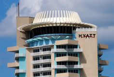 Hyatt Pier 66 - Fort Lauderdale, Florida. With a rotating cocktail lounge for 360° views, this hotel was once considered the pinnacle of futuristic, Googie design.