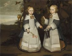 Anonymous, portrait of two girls (4-year-old twins), 1654 - private collection