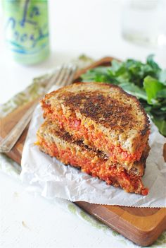 Sun-dried tomato and mascarpone grilled cheese sandwich