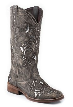 Roper Womens Cowboy Boots Squar Brown e Toe Sanded Leather Western Underlay