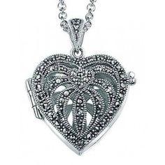 pendentif photo coeur marcassite en argent, poids 3,8 gr - Modèle Femme
