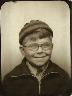 ** Vintage Photo Booth Picture **  Perhaps it was super cold outside so that this boy's glasses fogged up! Circa 1930