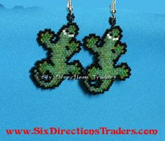 Gecko Brick Stitch Beaded Dangle Earrings Comanche Anole Lizard | SixDirectionsTraders - Jewelry on ArtFire