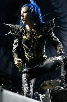 Alissa White-Gluz of Arch Enemy performs at Wembley Arena on December 19, 2015 in London, England.