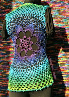 Tie-dye Effect Flower Mandala Vest by babukatorium, via Flickr