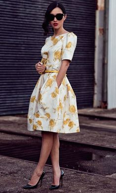 #street #style yellow flower print dress @wachabuy